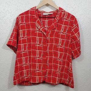 Liz Baker Essentials Red Button Short Sleeve Shirt